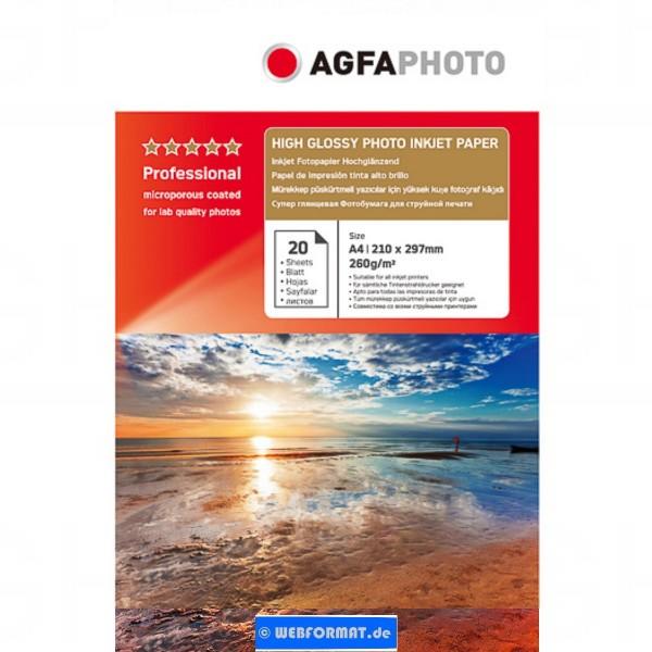 FOTOPAPIER AP26020A4, AP Tintenstrahl - A4 20BLATT, 260GR, glänzend. im Karton verpackt.