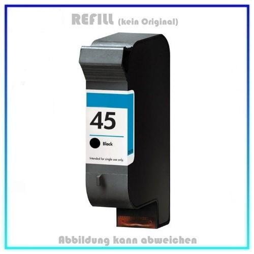 REF45A, 51645A, Refill Tintenpatrone Schwarz für HP - 51645A, DJ 720C, 850C, 890C, Inhalt 42 ml.