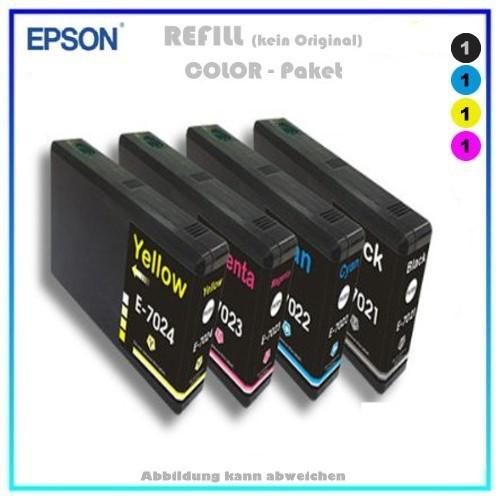 Multipack T7025 Alternativ Tinte für Epson C13T70254010 - Inhalt 1x BK=59ml - 1xC,1xM,1xY=je35ml