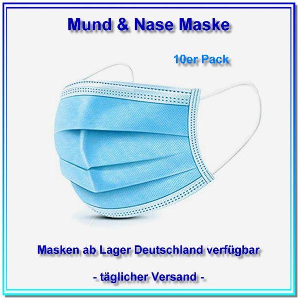 Mund & Nase Maske, kostengünstige 3L Standardmaske.10er Pack = 10 X 1 Maske. - Stückpreis 0,60 EUR.