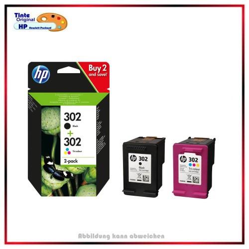 X4D37AE, HP Nr.302BK+Color - Combipack original Tinte f HP-302 Black & Color, BK=190 S. CMY=165 S.