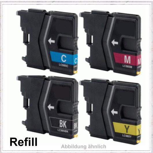 MULTILC985, LC-985 (BK+C+M+Y) Alternativ Paket Brother DCP-J125,DCP-J315W,LC985VALBP,BK=30ml,C=21ml