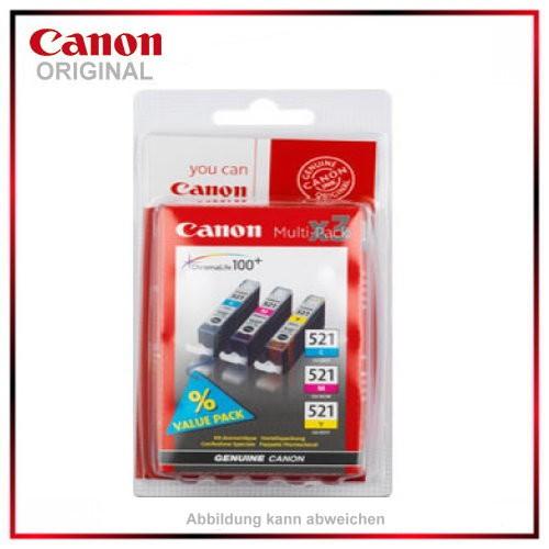 Multipack CLI521Z - 2934B007 - C/M/Y - original Tintenpatronen f. Canon Pixma MP 620 - IP 4600 X -