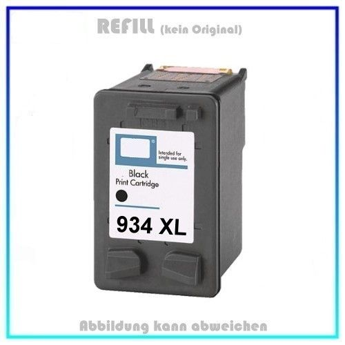 REF934XLBK, Refill Tinte Black, REF934XL, für HP, C2P23AE, Inhalt 56,6ml, k. Original, PATENT SAFE *