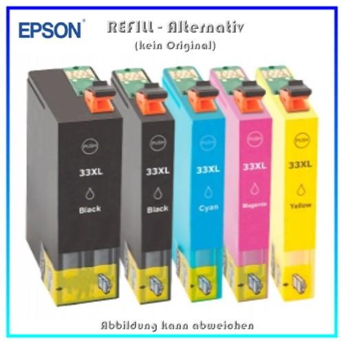 Multipack T3357 Alternativ Tintenpatronen für Epson - C13T33574010 - 33XL - BK=24ml - C,M,Y,PBK=12ml