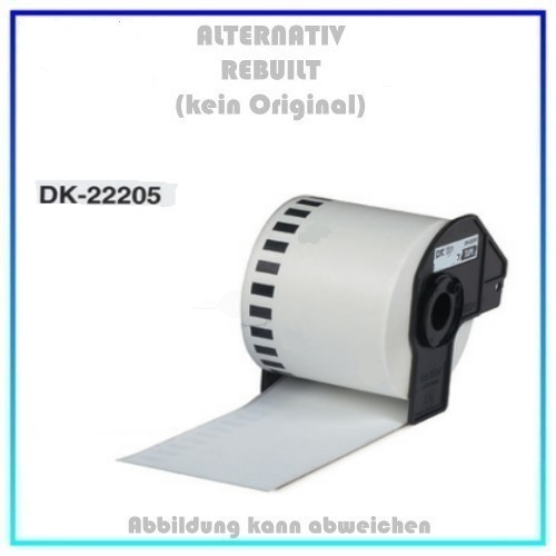 DK-22205 Alternativ Etiketten Endlos 62mm für Brother P-Touch, 30.48m, 62mm x 30,48 m, kein Original