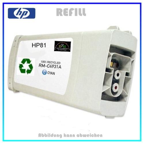 REF81C - Refilltintenpatrone HP - NR81 - Cyan für Drucker C4931A DesignJet 5000,5500,5800