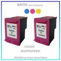 HP-301CXL, REF301CXL Doppelpack Refilltintenpatrone 2x Color, HP CH564EE, für HP Deskjet 1000,2x12ml