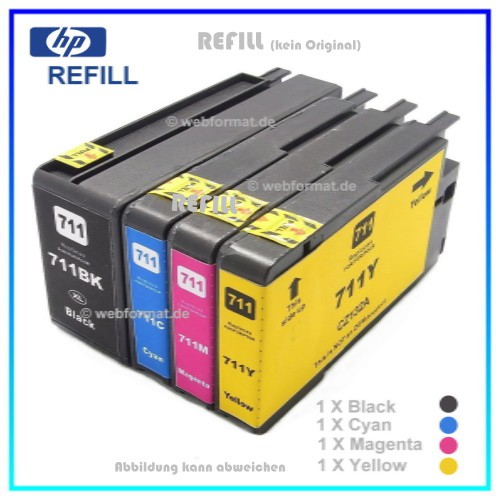 REF711 Pack - Refill Tintenpatronen HP Black + Cyan + Magenta + Yellow für Drucker HP Designjet T120