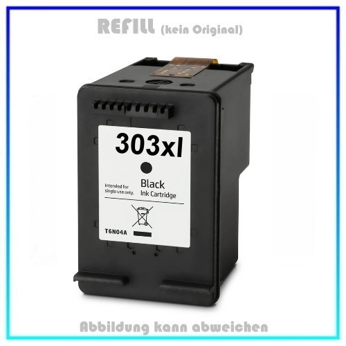 HP-303XLBK, REF303XLBK, HP303XL, T6N04AE, Refill Tinte Black für HP - Inhalt 12ml