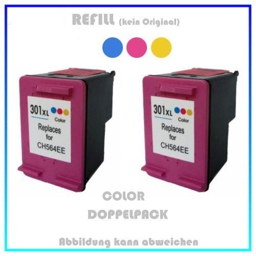 HP-301CXL, REF301CXL Doppelpack Refilltintenpatrone 2x Color, HP CH564EE, für HP Deskjet 1000,2x18ml