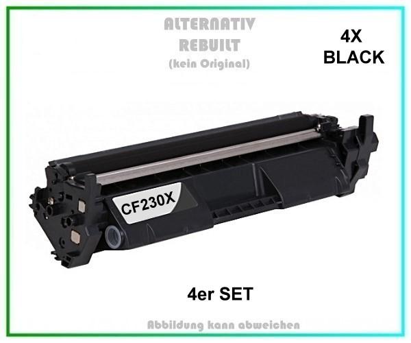 4er Set TONCF230X Alternativ Tonerkartusche 4X Black für HP - CF230X - Inhalt 4X 3.500 Seiten