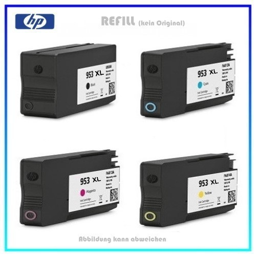 Multipack 953 HP-953, HP953, Alternativ Tinte für HP L0S70AE - F6U16/17/18AE, BK=58ml, C,M,Y,je=26ml