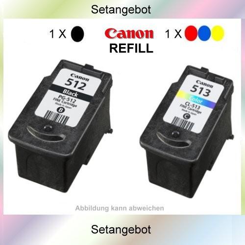 PG512 & CL513 Setangebot Refillpatrone Black und Color für Canon Pixma MP 240 - MP 480 - MP 260