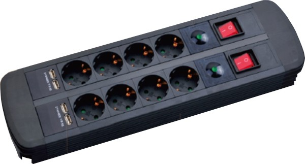 Mcab POWER SOCKET 2X4X16A 4XUSB 2M - 8 fach Steckdosenleiste - 4x USB Ladefunktion - Schwarz