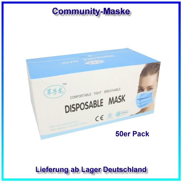Community-Maske für Mund und Nase aus Vliesstoffen 3-lagig, 50er Pack, Masken Einzelpreis: 0,80 EUR.