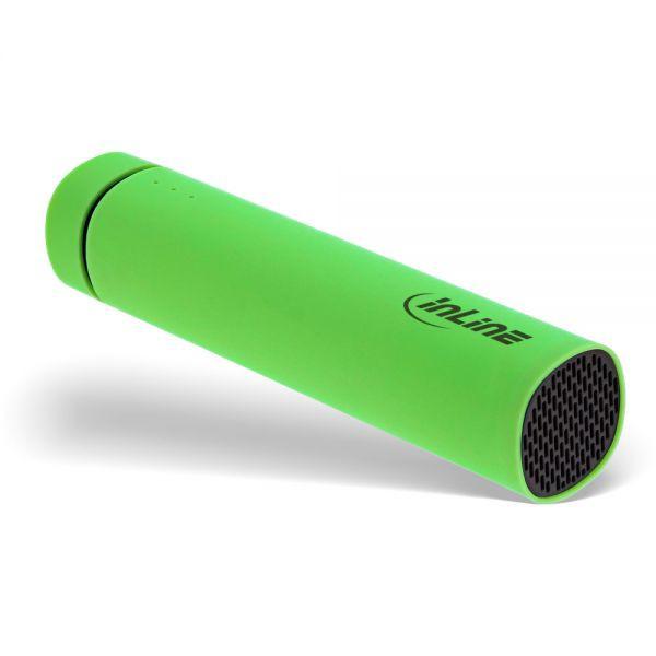 InLine® USB Soundbank Powerbank 2.200mAh, mit Lautsprecher und LED Statusanzeige, Farbe grün