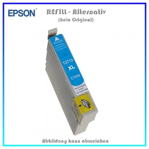 BULK T2712XL Alternativ Tintenpatrone Cyan für Epson - C13T27114010 - Inhalt 10,4 ml