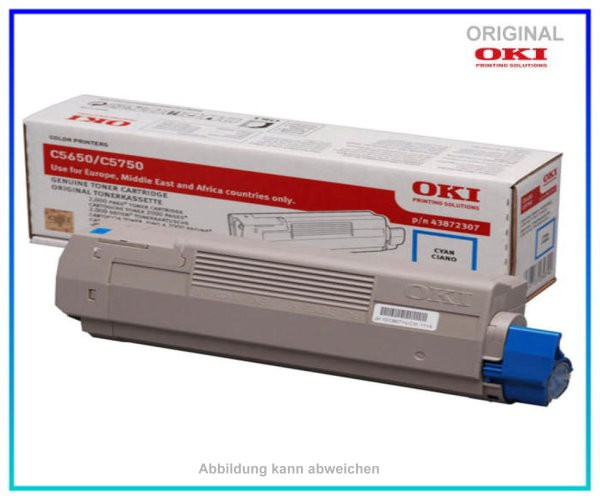43872307 Farblasertoner Original Cyan f. Oki C5650 - C5750 - Inhalt ca. 2.000 Seiten