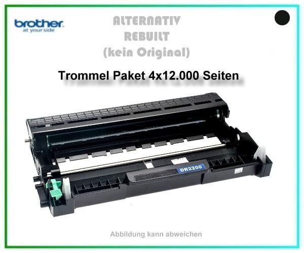 4er Set TONDR2220, DR-2220, TN 450, Alternativ Trommel Black f. Brother HL 2240, HL 2250, 4X12000 S.