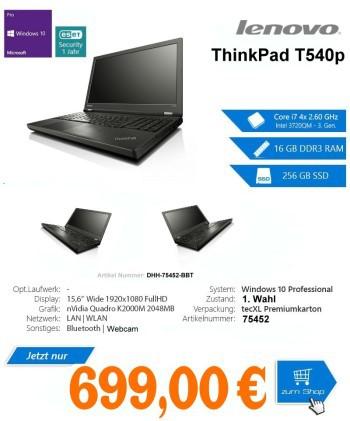 Lenovo ThinkPad T540p, Intel 4700MQ Core i7 4x2.40GHz,15.6,1920x1080 1080p,16384MB-DDR3,256GB-SSD,