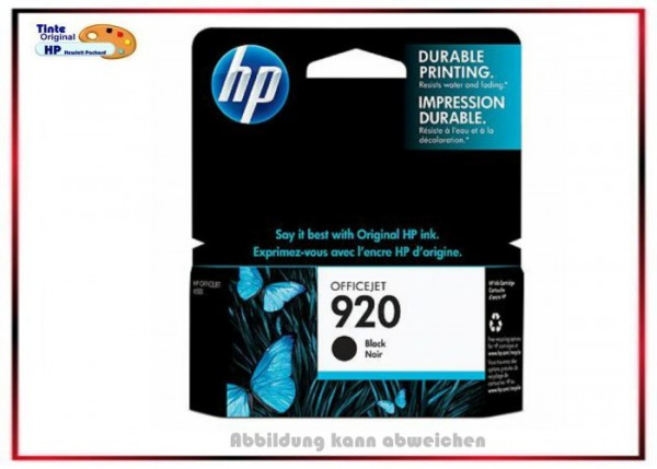 HP-920BK, CD971AE, Original OfficeJet, Tintenpatrone Black für HP 920BK, CD971AE - Inhalt 10ml.
