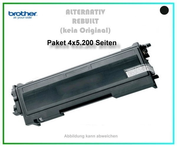 4er Set TONTN2220XXL, TN-2220XXL, TN 450, Alternativ Toner Black f. Brother HL 2240, 4 X 5200 Seiten