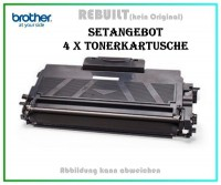 4er Set TONTN2010 Alternativ Tonerkartusche Black für Brother - TN2010 - Inhalt 4 X 2.500 Seiten