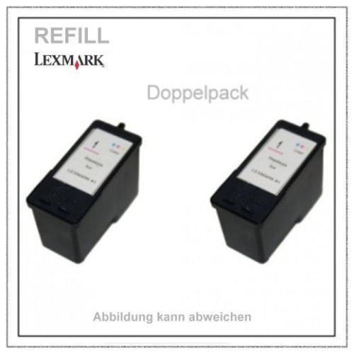 Nr. 1 Lexmark Refill Tintenpatrone - 18C0781 - Doppelpack - (2x Patrone refill) - Farbig