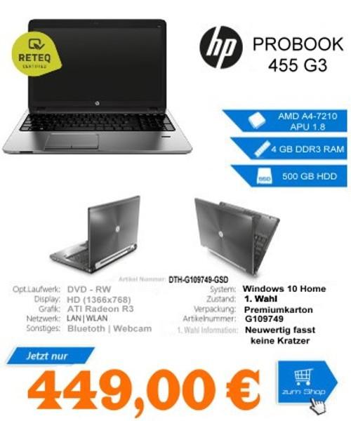 """Hewlett Packard HP PROBOOK 455 G3 AMD A4-7210 APU 1.8 15"""" HD, WIN 10 Home 64Bit"""