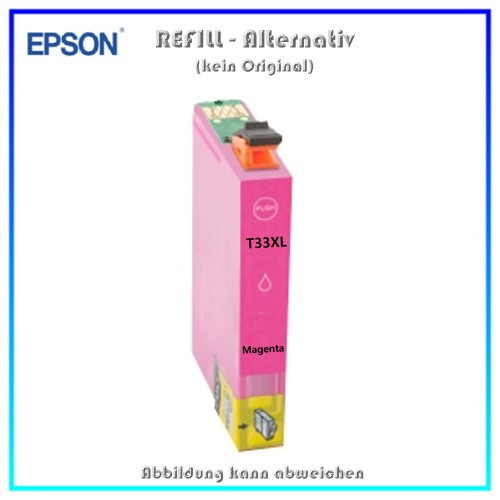 T33XLM Alternativ Tinte Magenta fuer Epson XP530 - XP630 - XP635 - XP830 - Inhalt ca. 14 ml (k. Orig