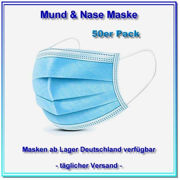 Mund & Nase Maske, kostengünstige 3L Standardmaske.50er Pack = 50 X 1 Maske. - Stückpreis 0,29 EUR.
