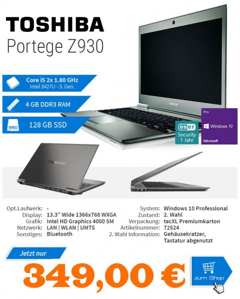 Toshiba PORTEGE Z930 / Intel 3427U Core i5 2x1.80 GHz / 13.3 / 1366 x 768 WXGA / Intel HD Graphics 4