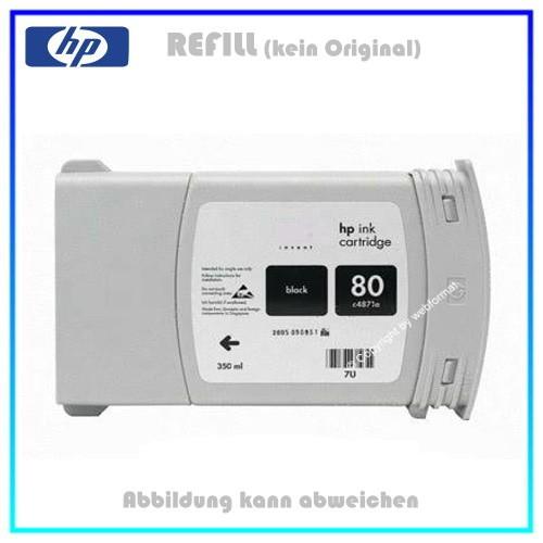 REFC4871A Refilltintenpatrone Black für HP C4871A - Nr. 80 - für HP DNJ1050 - Designjet 1050, 350ml