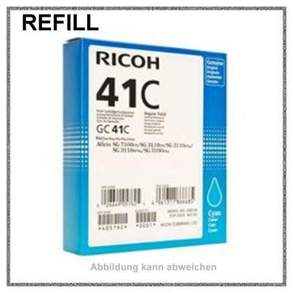 GC41C, REFGC41C, GC-41C Refill Tinte Gelkartusche Cyan für Ricoh, 405762, Inhalt 2200 Seiten