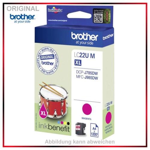 LC22UM - Original Tinte Magenta f. Brother - LC22UM - DCP-J785DW - MFC-J 985 DW Inhalt 1.200 Seiten