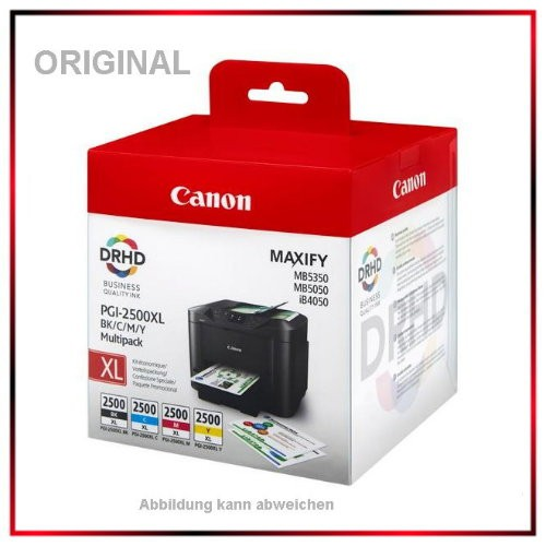 PGI-2500 XL Original Canon Multipack BK/C/M/Y - 1x 34,7ml u. 3x 12ml - Multi Pack für MAXIFY iB4050