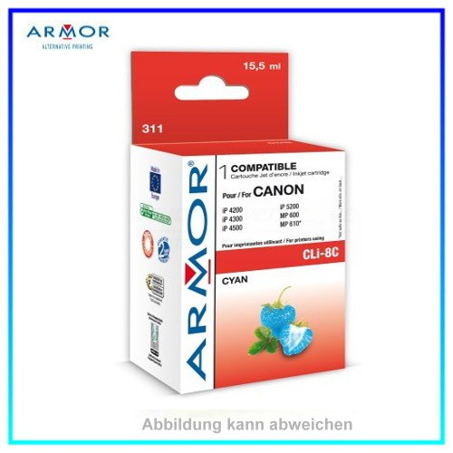 311 Armor CLI8C mit Chip cyan f. Canon IP4200, IP4300, IP5200, IP5300 MP500, MP530, 16ml