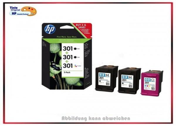 HP-301BK + HP-301C, E5Y87EE, Original HP 3X Tintenpatronen für E5Y87EE, 2X BK=190 Seiten+1X C,M,Y.