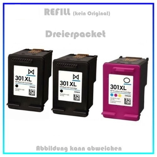 HP-301, Multipack HP301, Alternativ Tinte für HP E5Y87EE, 2x301BK=20ml - 1x301C=12ml, 3er-Pack