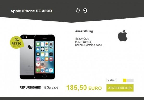 Apple iPhone SE 32GB, Ausstattung: Space Grau inkl. Netzteil & neuem Lightning Kabel. Refurbished