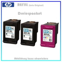 Multipack 301 Alternativ Tinte für HP - E5Y87EE - 2x301BK=20ml - 1x301C=12ml, Dreier-Sparpaket.