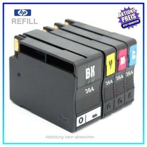 MULTI364XL (BK+C+M+Y) - Alternativ Tinte für Drucker HP Photosmart C 5383 - 5388 - 5390 - 5393 - 630