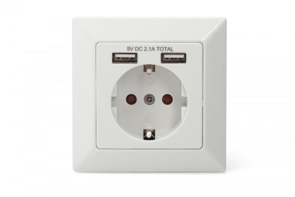 DIGITUS Sicherheits-Steckdose für Unterputzmontage mit 2 USB-Ports