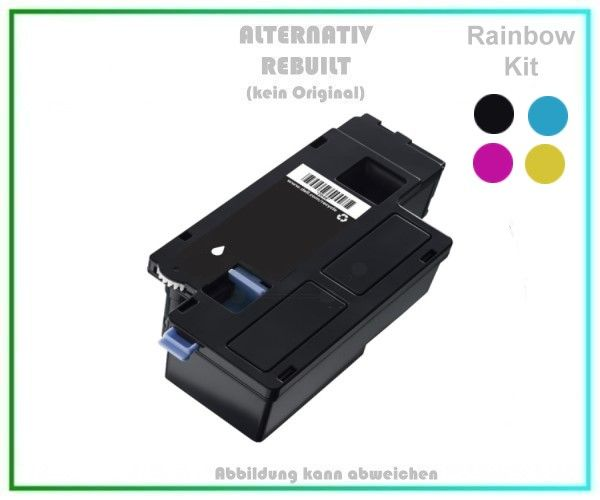 TOND1250KIT Alternativ Toner Rainbowkit, D1250KIT, für Dell - DC9NW,79K5P,9RGVT,25MRX - BK,C,M,Y.