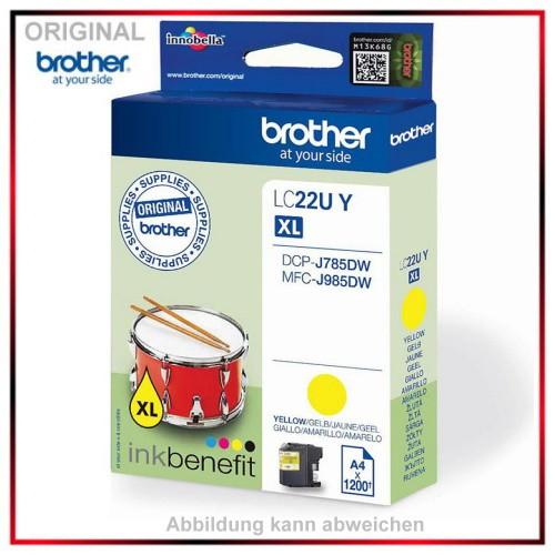 LC22UY - Original Tinte Yellow f. Brother - LC22UY - DCP-J785DW - MFC-J 985 DW - Inhalt 1.200 Seiten