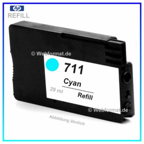 REF711 - Refill Tintenpatrone Cyan für Drucker HP - CZ130A - Designjet T120,T520 ePrinter, 29ml