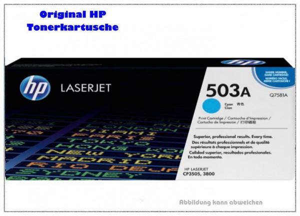 Q7581A - Cyan original HP Toner fuer HP Color LJ - Q7581A - Inhalt fuer ca. 6.000 Seiten.