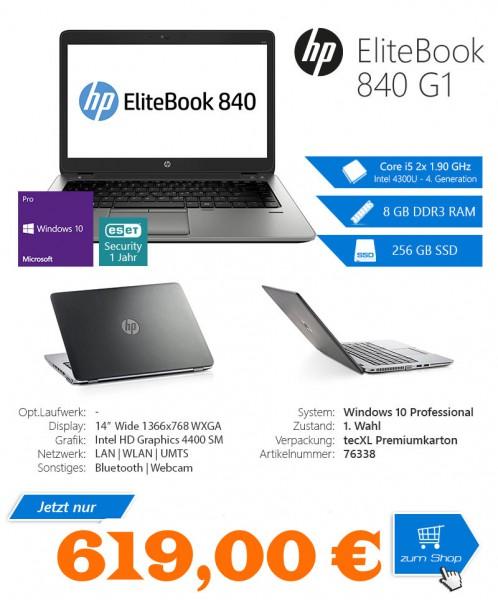 """Hewlett Packard EliteBook 840 G1 - Intel 4300U Core i5 2x1.90 GHz - 14"""" - 1366 x 768 WXGA - Intel HD"""