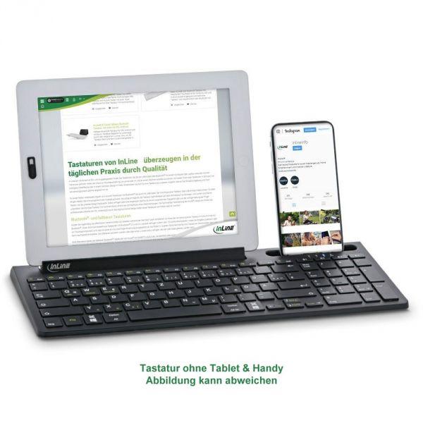 Bluetooth Aluminium Tastatur mit Nummernpad, für bis zu 4 Bluetooth-Geräte, schwarz, InLine®